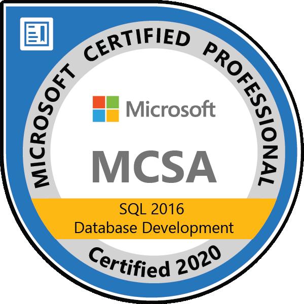 MCSA: SQL 2016 Database Development - Certified 2020