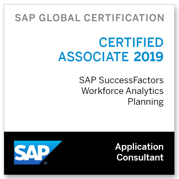 SAP Certified Application Associate - SAP SuccessFactors Workforce Analytics & Planning Functional Consultant 2019