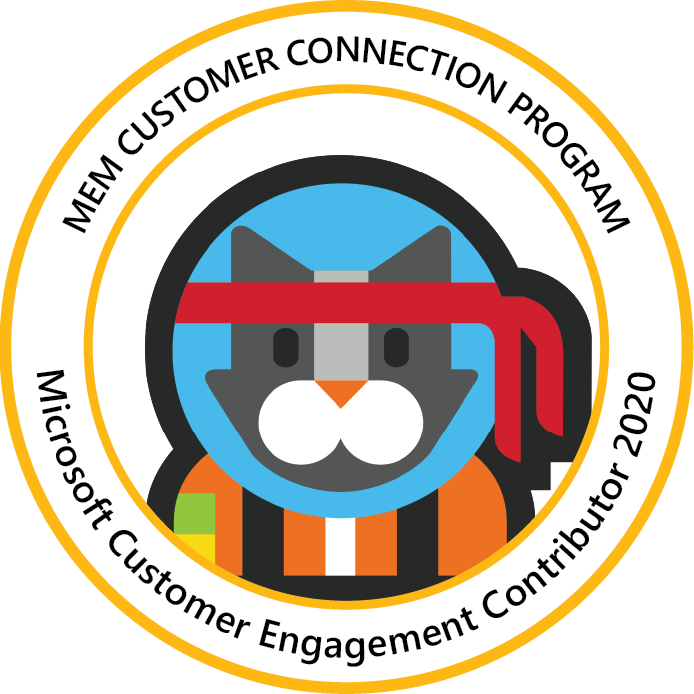 Microsoft Endpoint Manager Customer Connection Program: Customer Engagement Contributor 2020