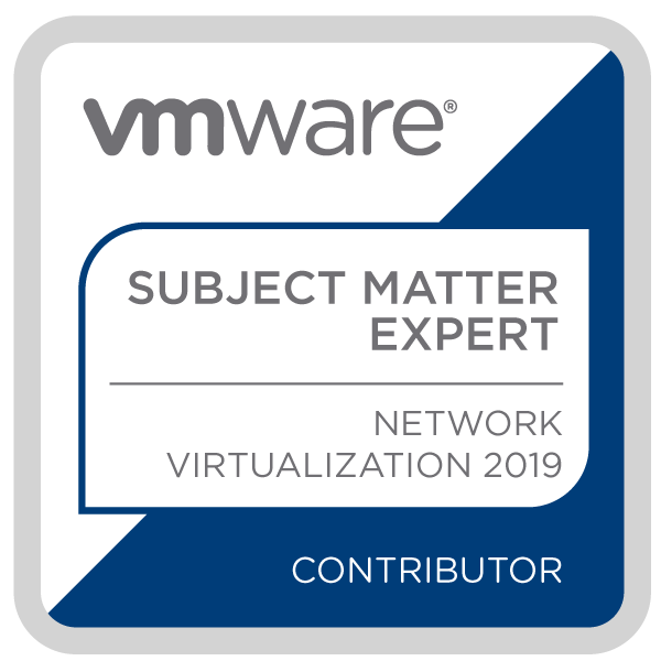 Certification Subject Matter Expert - Network Virtualization 2019