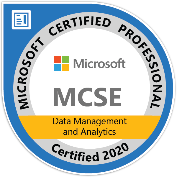 MCSE: Data Management and Analytics — Certified 2020