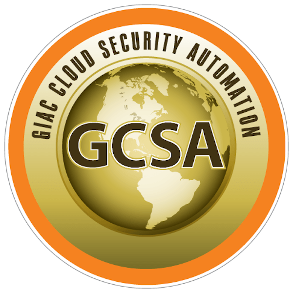 GIAC Cloud Security Automation Certification (GCSA)