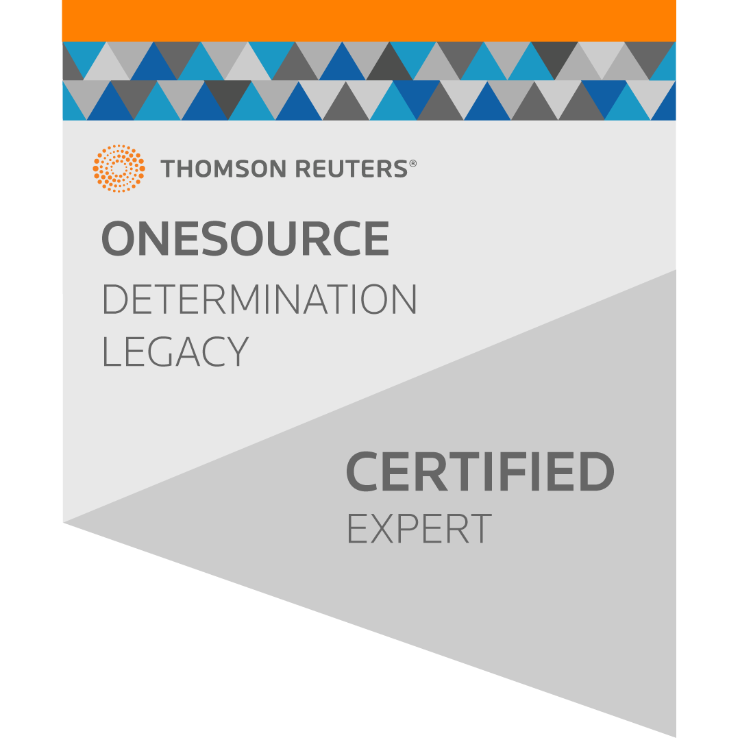 ONESOURCE Indirect Determination (Legacy UI) Expert User Certification