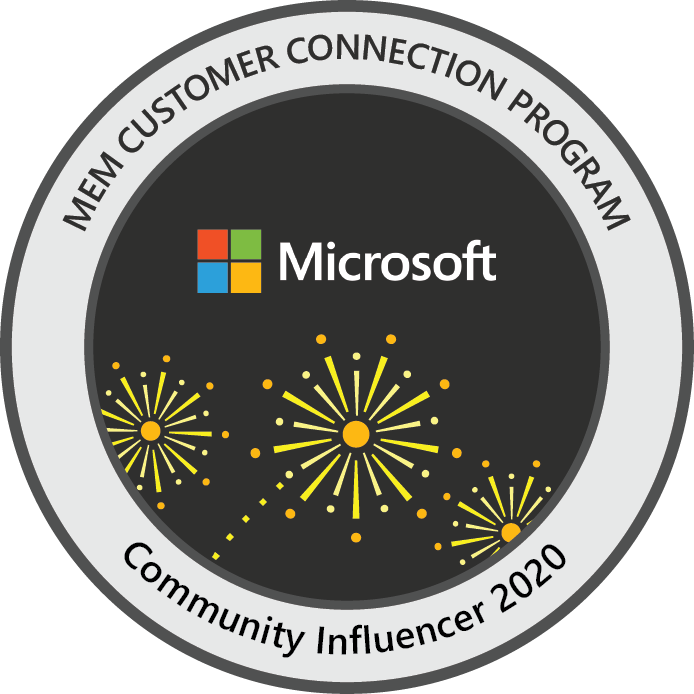 Microsoft Endpoint Manager Customer Connection Program: Community Influencer 2020