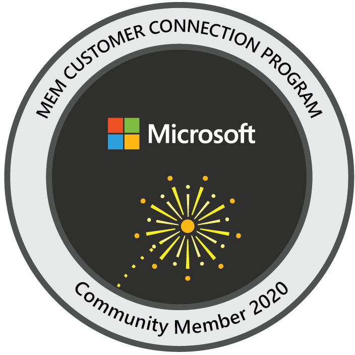 Microsoft Endpoint Manager Customer Connection Program: Community Member 2020