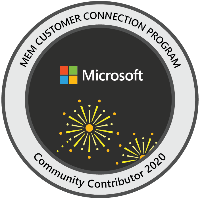 Microsoft Endpoint Manager Customer Connection Program: Community Contributor 2020