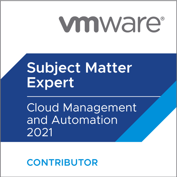 Certification Subject Matter Expert - Cloud Management and Automation 2021