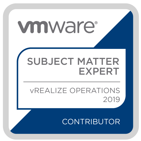 Certification Subject Matter Expert - vRealize Operations 2019