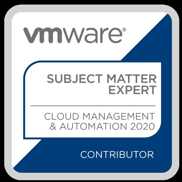 Certification Subject Matter Expert - Cloud Management and Automation 2020