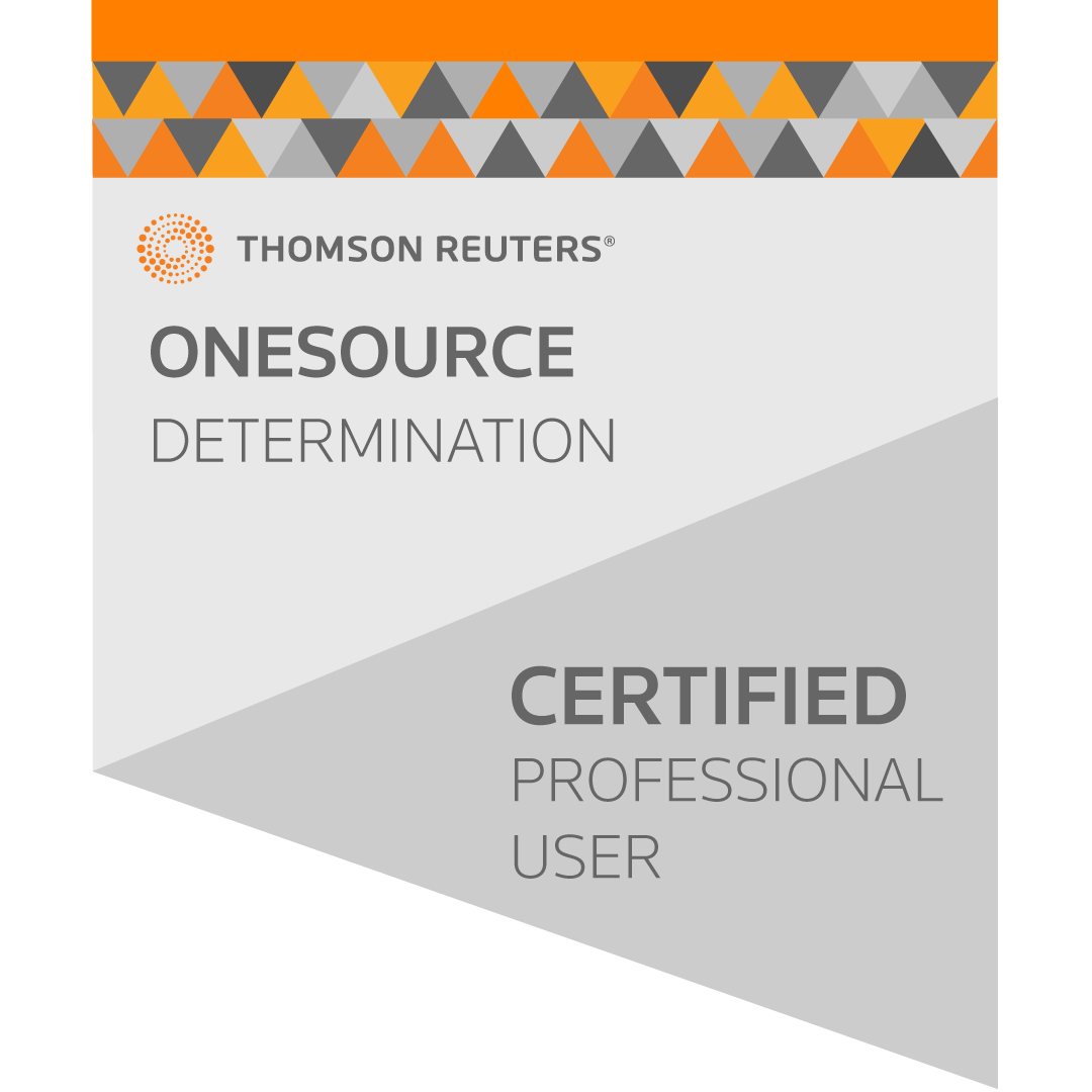 ONESOURCE Indirect Determination (New UI) Professional User Certification