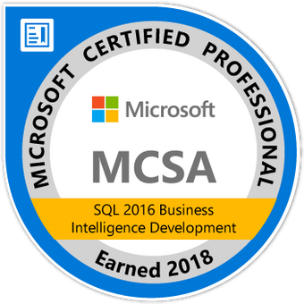 MCSA: SQL 2016 Business Intelligence Development - Certified 2018